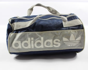 80s Adidas Trefoil Spell Out Nylon Handled Weekender Duffel Travel Bag Gray  Navy Blue 0a59bac199efa