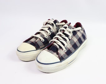 4844ec0bfd7f 90s New Converse Chuck Taylor All Star Low Wool Plaid Sneakers Shoes Mens  Size 6 Womens 8 Navy Blue Grey Burgundy