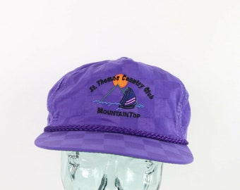 fe348f50 90s New Old Stock St Thomas Country Club Roped Nylon Checkered Leather  Strapback Hat Purple, Vintage Golf Hat, 1990s Checkered Hat, Vintage