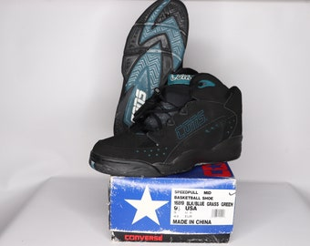704f73a6f22 90s New Converse Cons Speedpull MId Basketball Shoes Black Blue Mens