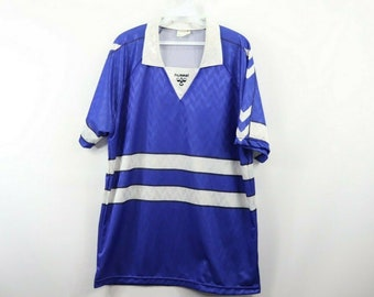 52776683e 80s Hummel Spell Out Striped Short Sleeve Athletic Soccer Jersey Mens XL  Blue White