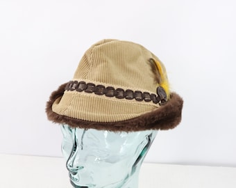 b1c5153a6aff6 60s Union Made Corduroy Feather Bavarian Tyrolean Alpine Hat Mens Medium