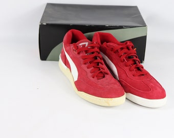 80s New Puma Liga Indoor Soccer Shoes Flat Red White Mens 8 d816393b1