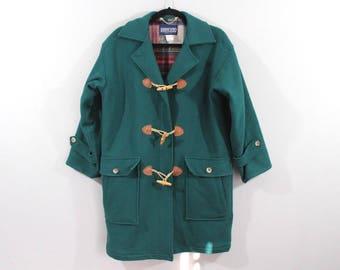 63e2470bd0 90s LANDS  END Toggle Wool Outdoor Winter Jacket Coat Womens Medium Green