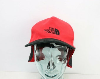 e01633c26b7 90s The North Face Spell Out Goretex Windstopper Ear Flap Hat Cap Red  Black