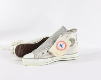 a21fe63f1d406c 90s New Converse Chuck Taylor All Star Hi Inside Out Denim Shoes Ash Grey  Mens 5 Womens 7 Made USA