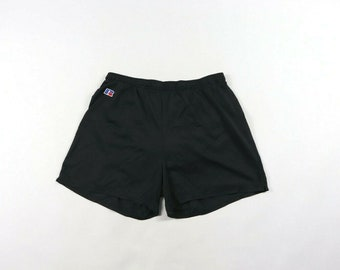 142a1be25a0 90s Russell Athletic Silky Nylon Running Jogging Shorts Black Mens XL