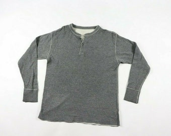 471cab5bbdd34 90s LL Bean Wool Long Sleeve Henley Shirt Mens Large Gray