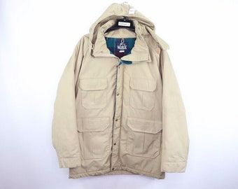 24841d9b9e65e 60s Woolrich Full Zip Hooded Blanket Lined Outdoor Chore Barn Jacket Mens  Large Khaki