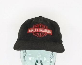 d5360a3f 90s Harley Davidson Motorcycles Spell Out Leather Strapback Hat Cap Black,  Vintage Harley Davidson Hat, 1990s Harley Hat, Leather Strap Hat