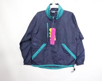 57ad8859a5c 90s New Sierra Sport Mens Hooded Windbreaker Light Jacket Navy Blue Teal