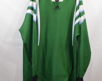 90s New Adidas Spell Out Soccer Goalkeeper Goalie Jersey Shirt Mens XL  Green ec2b7f3e1