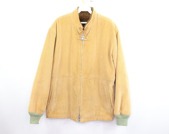841a4b2c1d1b7 70s Mighty Mac Full Zip Shearling Lined Corduroy Bomber Jacket Mens Size 40  Khaki