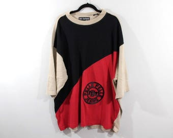 523871225a9db 90s Pelle Pelle Marc Buchanan Spell Out Short Sleeve Casual Crewneck  Sweater Mens 2XL Red Black