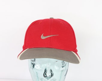 90s Nike Golf Tiger Woods Swoosh Logo Adjustable Dad Hat Cap Red a066c4fe4c5f