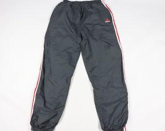 ec8d1cc46001b4 90s Adidas Spell Out Striped Lined Nylon Joggers Jogger Pants Gray Mens XL
