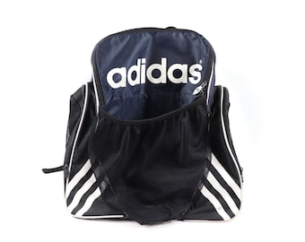 8df7589b9b 90s Adidas Big Logo Spell Out Soccer Ball Holder Backpack Book Bag Navy  Blue