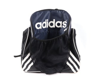 90s Adidas Big Logo Spell Out Soccer Ball Holder Backpack Book Bag Navy  Blue 13102be3d4bb6