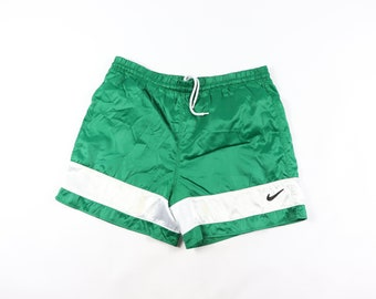 36c07fab1c9 90s Nike Color Block Shiny Running Jogging Soccer Shorts Green Mens size  Large, Vintage Nike Soccer Shorts, 1990s Nike Shorts, Mens Short