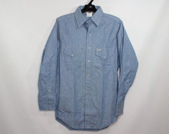 304eebb592 80s New Carhartt Chambray Western Style Pearl Snap Button Shirt Blue Mens  Union Made USA