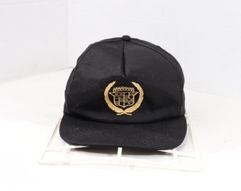 80s Cadillac Embroidered Gold Logo Snapback Hat Cap Black 11ac9baa53b