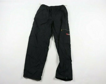 353fdb95bf54 90s Nike Spell Out Lined Casual Cargo Sweatpants Pants Mens Medium Black