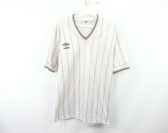 ea1d70fecca 80s Umbro Spell Out Team USA World Cup Soccer Jersey White Striped Mens  Medium, 1980s Umbro, Umbro Spell Out, Umbro Soccer Jersey, Vintage