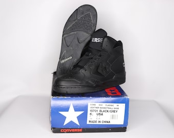 28585e86489ece 90s New Converse Cons 500 Classic Hi Leather Basketball Shoes Black Gray  Mens