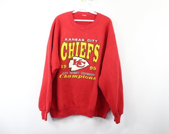 8f7256293 90s Kansas City Chiefs 1995 AFC West Division Champs Sweater Red Mens XL