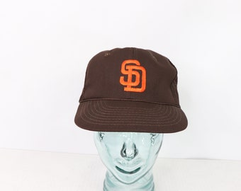 354b2956a New Vintage 80s San Diego Padres MLB Baseball Mesh Roped Trucker Hat  Snapback, Vintage 80s San Diego Padres Hat, 80s MLB Baseball Hat,