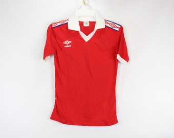 c4984367886 80s New Umbro England World Cup Short Sleeve Soccer Jersey Red Mens Small