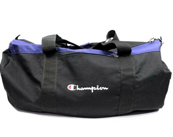 c2096ca101 90s Champion Spell Out Large Travel Duffle Duffel Gym Bag Black
