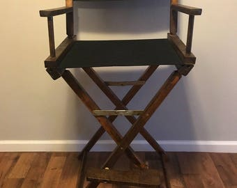 60s Antique Movie Director Wooden Canvas Chair, Vintage Directors Chair,  Antique Wooden Chair, Movie Prop Chair, 60s Directors Chair Black