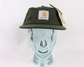 a2c84d00b6970 90s New Carhartt Spell Out Stone Washed Canvas Denim Snapback Hat Cap  Hunter Green