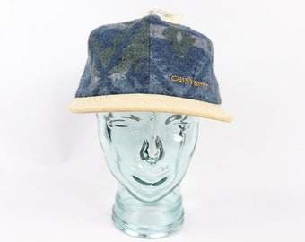 2d975319d1d 90s New Carhartt Spell Out Navajo Print Blanket Snapback Hat Cap Blue USA  Cotton