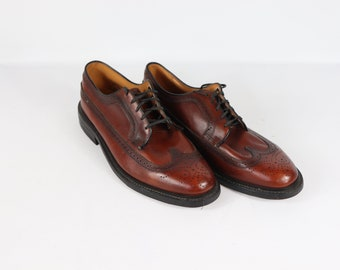 9b8005f3a59d 80s JCPenney Mens 12 EEE Pebbled Grain Leather Wingtip Dress Shoes Brown