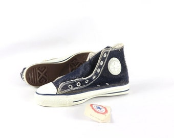 e2ac3b6a0caa 90s New Converse Chuck Taylor All Star Low Inside Out Denim Sneakers Shoes  Mens Size 6 Womens 8 Navy Blue White USA