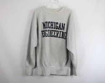 717c8b220052 Vintage 80s Champion Reverse Weave Michigan Wolverines Sweatshirt Mens XL  Gray
