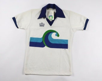 6d910e123 80s New Admiral Chicago Surf NASL North American Soccer League Jersey Mens  Small White Blue