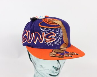 bca7fcaf403 90s New Phoenix Suns NBA Slam Dunk Basketball Snapback Hat Cap Purple