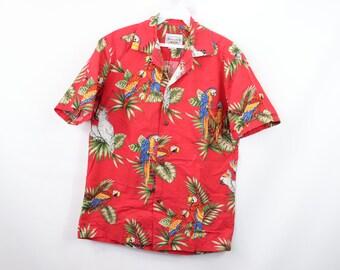 ec38cf2f5 90s Parrot Macaw Print Magnum PI Hawaiian Shirt Red Cotton Mens Small,  Vintage Pacific Legend Hawaiian Shirt, Parrot Print Hawaiian Shirt