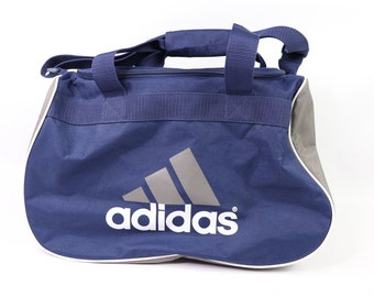 90s Adidas Spell Out 3 Stripes Weekender Duffel Bag Travel Bag Blue 5ea731e248179