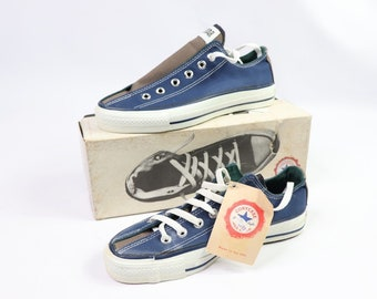 b2824023794e 90s New Converse Chuck Taylor All Star Low Bowling Navy Blue Grey Mens 5  Womens 7 Canvas Made In USA