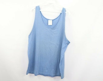 cdf20a9816b98 90s Blank 50 50 Blend Bodybuilder Tank Top Shirt Mens Large Blue