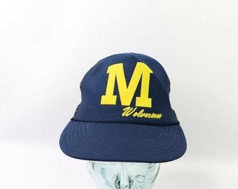 new york d8d5d c4ecb 80s Deadstock Michigan Wolverines Football Spell Out Block M Mesh Trucker Snapback  Hat Cap Blue, Vintage Michigan Hat, Michigan Football Hat