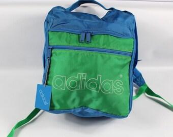 abd8edfe51e5 80s Adidas Trefoil Spell Out Nylon Backpack Book Bag Blue Green New