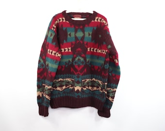 60s Shetland Wool Navajo Print Hand Knit Crewneck Sweater Red Mens XL 5cd818d7da8f5