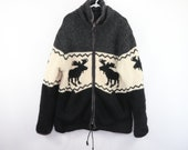 50s Wool Hand Knit Fleece Lined Moose Print Wool Cowichan Jacket Mens XL , Vintage Wool Jacket, Vintage Cowichan Knit Jacket, 50s Jacket,