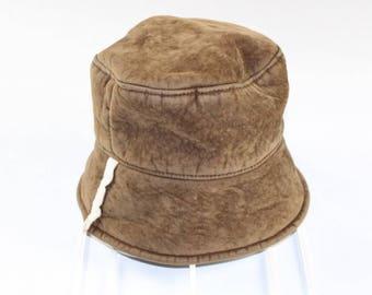 c34da699cfb26 Vintage Womens Small Italian Wool Outdoor Bucket Hat Cap Brown