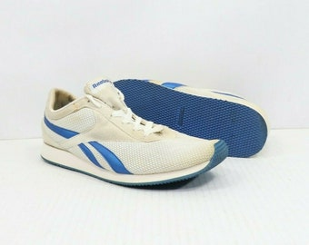 5c9e2585f45 90s Reebok Mesh Lace Up Spell Out Casual Sneakers Shoes Mens Size 9 White  Blue, Vintage Reebok Shoes, 90s Reebok Shoes, Mens Sneakers 1990s